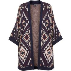 TOPSHOP Patterned Knit Kimono Cardigan (52 CAD) ❤ liked on Polyvore featuring tops, cardigans, kimono, jackets, outerwear, navy blue, pattern tops, navy tops, navy blue tops and navy open front cardigan