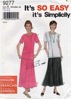 Simplicity 9277 Misses/' Top and Skirt 6 to 24    Pattern