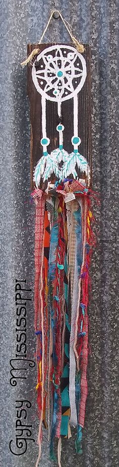 Boho Gypsy Hippie Dreamcatcher Painting Fabric Wall Hanging