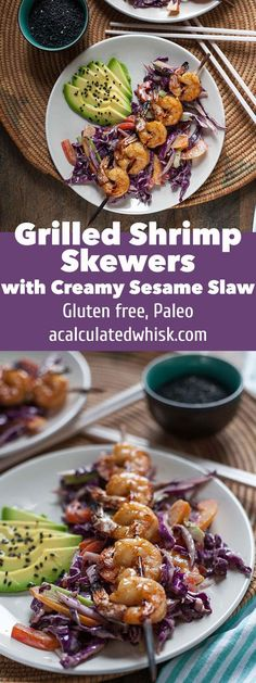 Grilled Shrimp Skewers with Creamy Sesame Slaw | acalculatedwhisk.com #30MinuteMondays