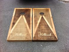 Personalized Custom Full Size Stained Cornhole Boards Set with
