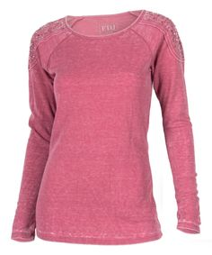 Look at this Rose Distressed Embellished Crewneck Top - Women on #zulily today!