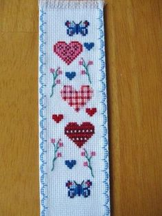 Hand Stitched Completed Cross Stitch Bookmark Hearts And