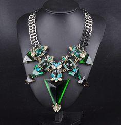 2015 New Fashion Jewelry For Women Big Triangle Rhinestone Statement Necklace Chunky Chain Crystal Choker Bib Necklaces Pendants