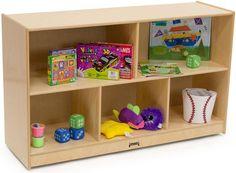 Children's Book Case Display, Jonti-Craft, 5 Compartments, Wood, Wheels…