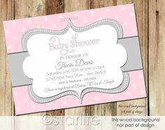 Girl Baby Shower Invitation pink gray grey polka dots  by starwedd