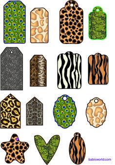 free  modelos de tags  com pele de animal em pdf