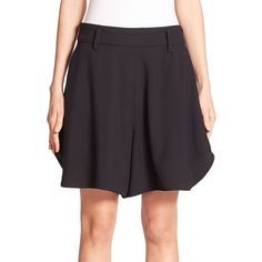Chloe Curved Crepe Shorts ($925) ❤ liked on Polyvore featuring shorts, apparel & accessories, chloe shorts and tailored shorts