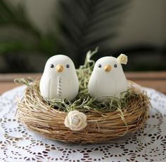 IN LOVE  Custom Wedding Cake Topper - Small Hand Painted Love Birds with Nest. $105.00, via Etsy.