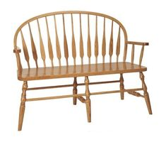 Amish Feather Low Windsor Bench Authentic solid wood Windsor bench. Choice of wood and finish. Available with or without arms. Option to add a storage box if you wish. #AmishFurnitureFromOhio