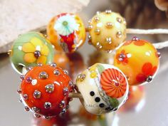 Handmade+lampwork+glass+bead+set+Artisan+glass+by+AvasBeadGarden,+$36.00