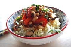 50 Looks of LoveT. Black Eyed Peas, Veggies, Food, Beauty, Beans, Rice, Red Peppers, Gluten Free Diet, Vegetarian Diets