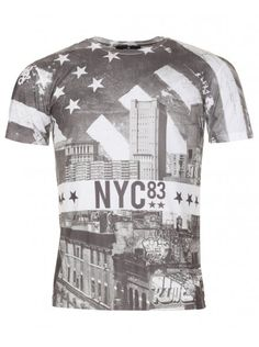 Twisted Soul Mens White New York City Print T-Shirt City Print, New York City, Short Sleeves, Mens Tops, How To Wear, T Shirt, Clothes, Supreme T Shirt, Outfits