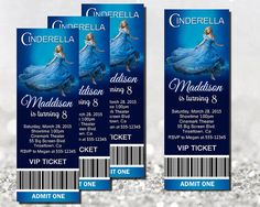 2015 new Cinderella movie Invitation - Movie Ticket Printable by TheIndigoStudio on Etsy