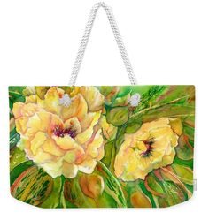 Yellow Peony Flowers Weekender Tote Bag x by Sabina Von Arx. The tote bag includes cotton rope handle for easy carrying on your shoulder.