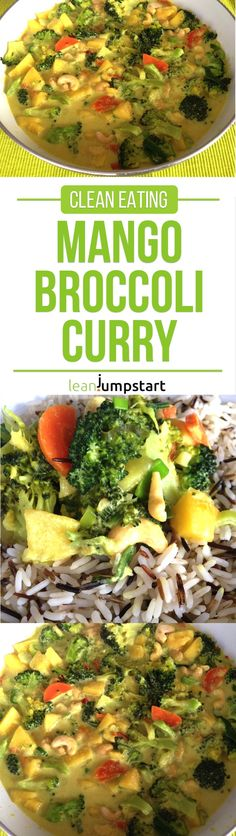 mango curry recipe with broccoli, cashews, carrots and coconut milk paired with wild rice - a yummy clean eating dish via @leanjumpstart