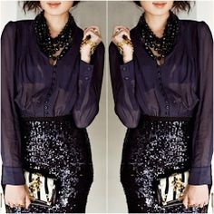 How to Chic: BLACK SEQUIN SKIRT
