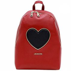 Love Moschino Womens Heart  Logo Red Backpack Handbag >>> You can get additional details at the image link.