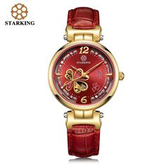 US $91.92 - STARKING Brand Ladies Mechanical Rose Gold Watches Women Diamond Bracelet Luxury Watch Hollow Clover Automatic Wristwatch AL0200