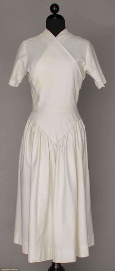 CLAIRE McCARDELL WHITE WRAP DRESS, c. 1950