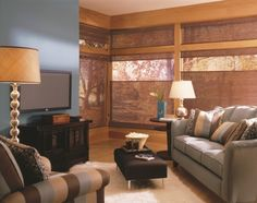 woven wood window coverings in a living room