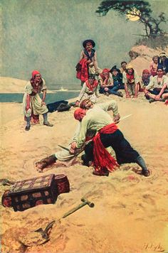 The author and illustrator Howard Pyle was born today in An illustration from Howard Pyle's Book of Pirates. Robin Hobb, Long John Silver, Pirate Art, Pirate Life, Golden Age Of Piracy, Nc Wyeth, Howard Pyle, Pirate Treasure, Buried Treasure