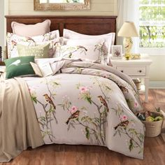 Furniture Pastoral Style 100 Cotton Bedding Sets Queen King Size Bed Linen Floral Plants Printed Bed Sheet Duvet Set 100% Cotton Material Comfortable Flange Euro Shams Small Side Table With Drawer Trendy Bamboo Fiber Bed Sheets