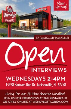 Wendy's at Nocatee is hiring! Apply online or attend an open interview. #NocateeTownCenter
