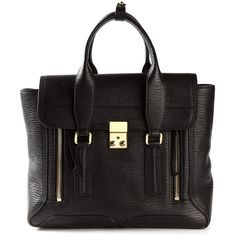 3.1 Phillip Lim Medium Pashli Satchel (€850) ❤ liked on Polyvore featuring bags, handbags, store, black, black handbags, 3.1 phillip lim handbag, satchel hand bags, clasp purse e satchel purse