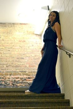 Bobbi Jo's Boutique - Embellished Navy Keyhole Neckline Halter Maxi Dress