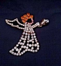 Christmas Angel Jewelry Rhinestone Pin Brooch Floating Bell n Body Holiday Angel