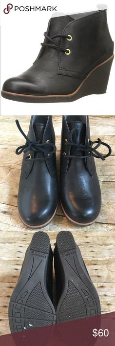 Sperry Black Leather Wedge Boots Great condition, minor stains/scuffs - see pictures Sperry Top-Sider Shoes Ankle Boots & Booties