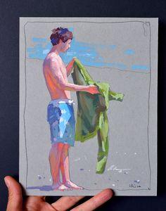 Lena Rivo's Painting Blog: Boy getting ready for a swim