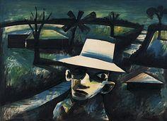 "Charles Blackman ""Man in a Night Landscape"", 1955 (Australia, Modernism / The Antipodean Group, cent. Australian Painters, Australian Artists, Alice In Wonderland Series, Unusual Art, Art Station, Traditional Art, Mona Lisa, Auction, Scene"