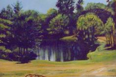Ward's Pond acrylic painting by John Warren Oakes Private collection Kentucky