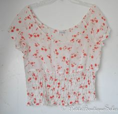 NEW FLORAL CROPPED SHEER CHIFFON SHIRT TOP BLOUSE SIZE M/L WOMEN'S CLOTHING