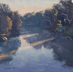 "Sun through the River Mist by Warwick Fuller oil on board 12"" x 12"" www.panterandhall.com"