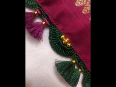 Beautiful Single Arch with Twin Tassels in between price range 400 to 450 - YouTube Saree Kuchu New Designs, Saree Tassels Designs, Pattu Saree Blouse Designs, Crochet Flower Tutorial, Crochet Flowers, Diy Crafts Love, Hand Embroidery Patterns Free, Tatting Necklace, Paper Quilling Designs