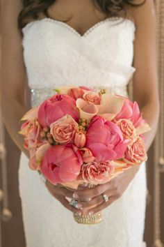 Coral Wedding Bouquet - The Pampered Bride Blog
