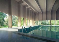 A cross-laminated timber roof covers this six-lane swimming pool, which London firm HawkinsBrown is to add to a school in Surrey