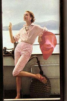 Summer style!! PEARLS!! Always choose pearls! Summer outfit in PINK!! Wonderful!! Always wearable and so pretty! Vogue May 1955 Henry Clarke