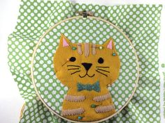 Bugs and Fishes by Lupin: Guest Post: Embroidered Felt Cat Hoop Tutorial