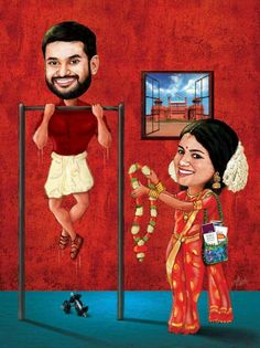 Customized wedding caricature