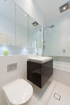 wall hung vanity, glass med cabinet and recessed shelf across wall Bathroom Interior, Shower Room, Bathroom Layout, Bathroom Cabinets Designs, Bathroom Renos, Laundry In Bathroom, Mirror Cabinets, Bathroom Wall Cabinets, Bathroom Mirror Cabinet