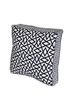 3-Hand screen printed cushion geo black on cotton velveteen