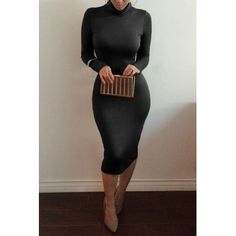 Sexy Turtleneck Long Sleeves Black Blending Sheath Knee Length Dress
