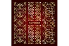 Set of 3 golden lace pattern red-2 by nastyaaroma on @creativemarket