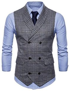 638607975ef Mens Slim Fit Business Checkered Double Breasted Blazer Waistcoat Suit Vest  Double Breasted Vest