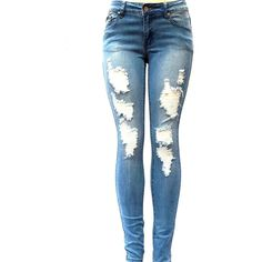 J&C 1826 WOMENS BLUE Denim Stretch JEANS Destroy Skinny Ripped... ($20) ❤ liked on Polyvore
