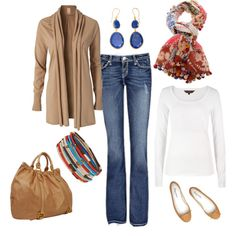 The scarf and the bangles make this so cute!